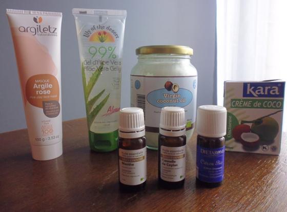Kit de base « naturel » : un masque à l'argile composé uniquement d'eau et d'argile ; un gel d'Aloe Vera aux multiples fonctions ; de l'huile de coco pour le dentifrice ou les masques ; de la crème de coco pour les cheveux et des huiles essentielles pour mélanger un peu partout