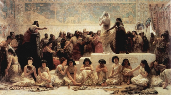 """""""The Babylonian marriage market"""" (1875), Edwin Long [Holloway and Bedford New College]"""