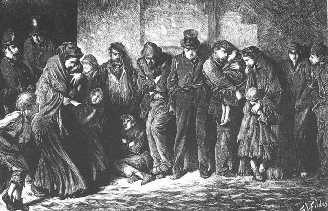 """Houseless and Hungry"" (1869), Luke Fildes"