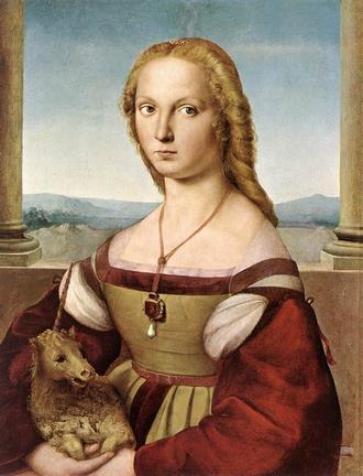 """""""Dama col liocorno"""" (1505-06), Raffaello Sanzio [Galleria Borghese, Rome]"""