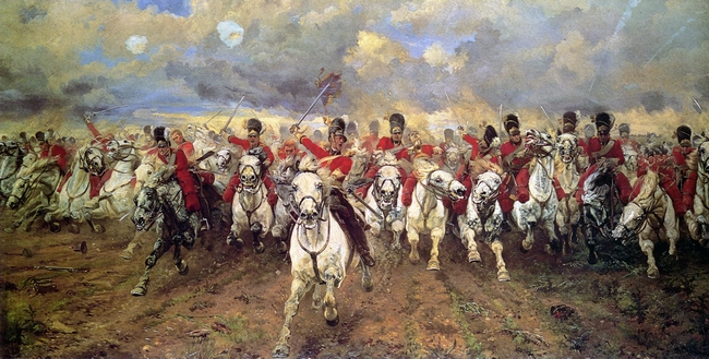 """""""Scotland Forever!"""" (1881), Lady Elizabeth Butler [Leeds Art Gallery]"""